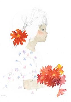 """Iwasaki Chihiro """"Bé gái cầm hoa đồng tiền"""" (Khoảng 1970)"""